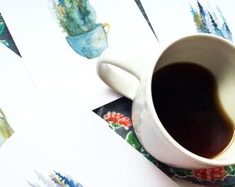 Pine Mug - Set of 4  - Watercolor Art Print - pine trees, forest, coffee, mug, tea, nature, north woods