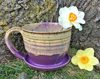 Coffee Cup Planter (with saucer attached)
