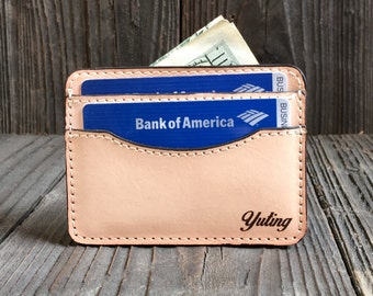 Credit Card Holder - Slim Leather Wallet - Credit Card Sleeve - Vegtan
