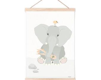 Poster - elephant   children - nursery   50x70cm - 19,7 x 27,5 inches