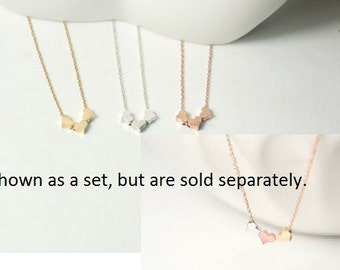 Three best Friends Necklace,3 Tiny Mini Hearts necklace.gift for three best friend,Three Sisters Necklace,delicate, dainty,everyday necklace