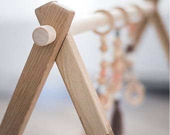 Natural wooden baby play gym - baby activity gym - stylish nursery baby wooden gym stand