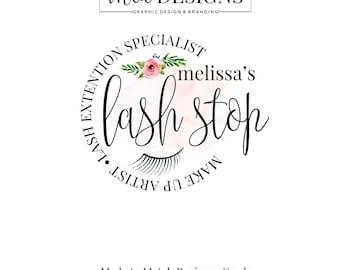 Eyelash Artist Logo - Makeup Artist Logo, Beauty Logo, Round Logo, Boutique Watercolor Logo, Premade Logo, Custom Logo, Eye Lash Extensions
