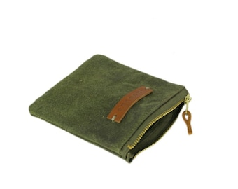 Mini waxed canvas pouch, cosmetic bag, mini zipper pouch, makeup bag, handwaxed canvas, recycled canvas makeup bag