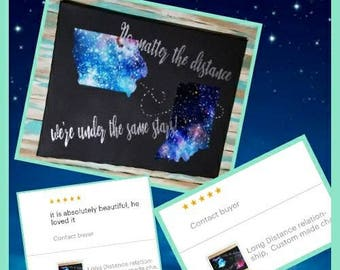 Long Distance relationship,  chalkboard art, Moving gifts, friendship gifts,custom gifts, galaxy gifts,galaxy state gifts, space gifts