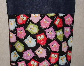 New Small Handmade Whimsical Owls Denim Tote Bag