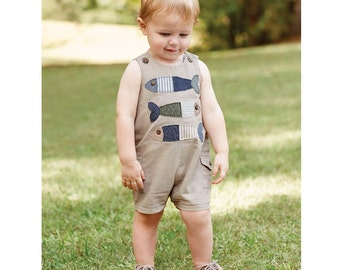 Preppy Chambray Fish Shortall by MudPie®, Mudpie Baby, Mudpie outfit