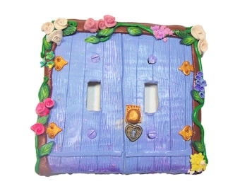 Blue Fairy Door Switch Plate Cover - Flower Light Switch Cover - Polymer Clay Switchplate Cover - Girls Room - 2 gang switch plate