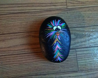 Hand Painted Rock Colorful Crazy Bird
