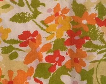 Pair of Vintage Yellow Green Orange Floral Retro Pillowcases Burlington House