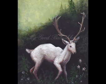The White Hart, Art Print, Deer, White Deer, Forest, Daisies, Fairy Tale, Folk Tale, Storybook Art, Wildlife, Surreal, Woods, Wild Animal