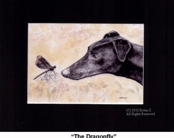 Black Greyhound Whippet and Dragonfly Limited Signed Art Print
