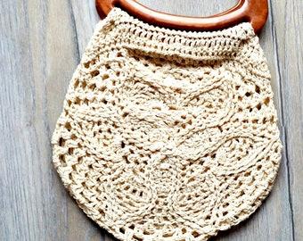 Women summer bag White crochet cotton bag Victorian handbag organiser insert Handmade Small bag Handmade mini purse Crochet summer bag