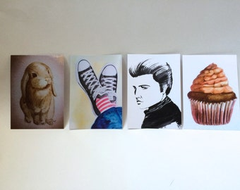 Set of 4 Art Postcards of my watercolor prints of Elvis, shoes, cupcake and antique bunny rabbit