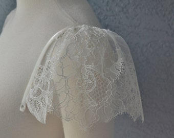 Detachable Ivory Chantilly Lace Straps Cap Sleeves to Add to your Wedding Dress