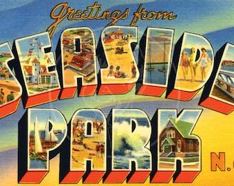 Greetings from Seaside Park, NJ - 10x16 Giclée Canvas Print of Vintage Postcard