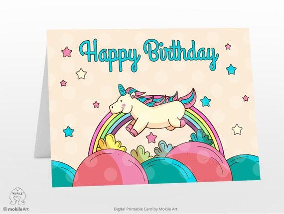 Intrepid image within unicorn birthday card printable