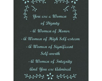 You are a Woman of Dignity Paper Cut Inspirational Verse  8x10  Unframed