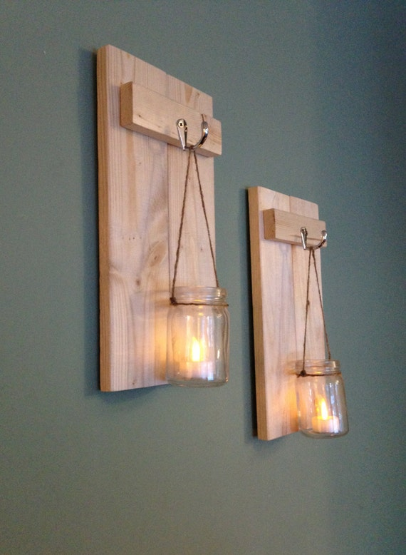 Mason Jar Sconce Rustic Wall Decor Wooden Candle Holder