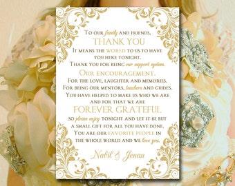 "Gold Wedding Thank You Template - Printable Thank You Card Insert - Wedding Program Insert - ""Jenna"" Wedding Ceremony Card - Thank You Card"