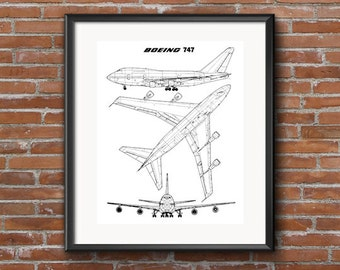 As seen in gq 1902 wright brothers flyer boeing 747 blueprint instant download blueprint art boeing 747 wall art airplane malvernweather Image collections