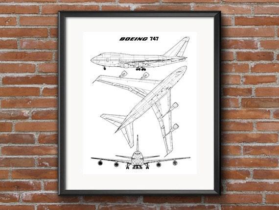 Boeing 747 blueprint instant download blueprint art boeing malvernweather Gallery