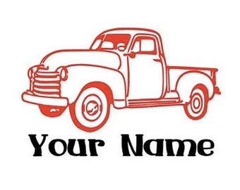 Personalized  Old Truck Vinyl Decal Sticker