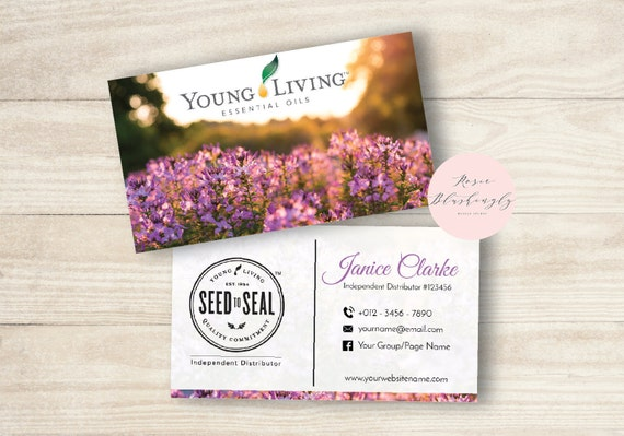 young living essential oils business cards and postcards