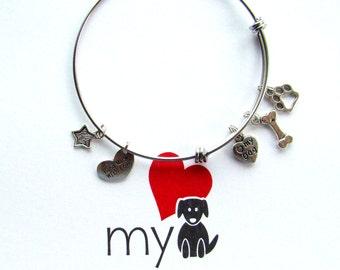 Love My Dog Boxed Expandable Bangle Bracelet, Dog Lover Bracelet