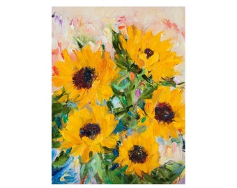 Giclee Fine Art Print - Sunflowers Original Oil Painting, Canvas Impressionist Art Floral Flowers Flower Sunflower Yellow Paintings Abstract