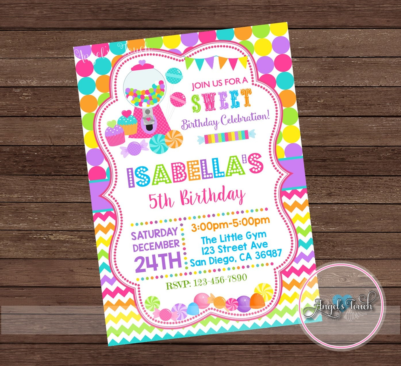 Candyland Party Invitation Candy Land Birthday Invitation