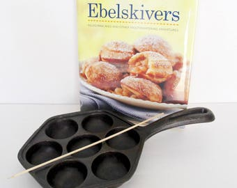 Ebelskivers Cast Iron Pan with Ebelskivers Cookbook