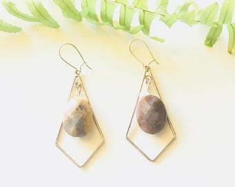 Jasper And Silver Earrings