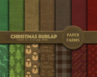 Christmas burlap digital paper, linen, rustic,christmas burlap scrapbooking paper, christmas linen digital paper, rustic christmas, DOWNLOAD