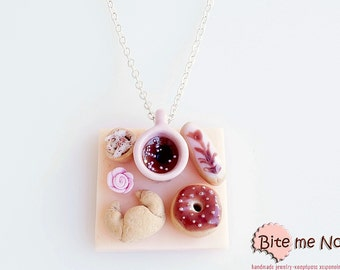 Mini Food French Pastries on a Table Necklace, Donut Eclair Croissant Necklace, Clay Sweets, Food Jewelry, Cute Jewelry, Kawaii Jewelry