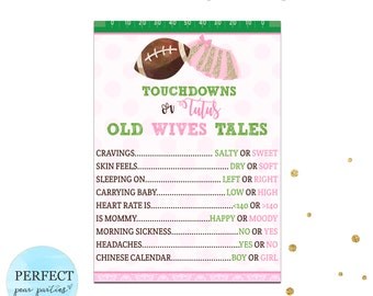 Touchdowns or Tutus Old Wives Tale Gender Reveal Game, Tutus or Touchdowns Gender Reveal, Gender Reveal Games