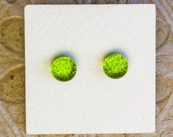 Dichroic Glass Earrings , Petite, Spring Green  DGE-1408