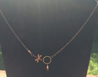 Brass chain necklace with dragonfly charm