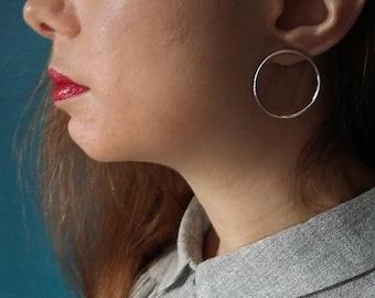 Circle Stud Earrings - Large Sterling Silver Hoops - Modern Minimalist Jewellery - Circles Minimal Studs - Made in UK, Simple earrings