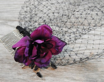 Black Birdcage Veil - Black Funeral Veil - Purple Birdcage Veil - Purple Funeral Veil - Black Mourning Veil - Black Brides Veil
