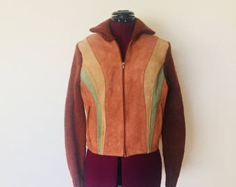 70's Suede Leather Jacket Long Sleeve Zip Up Sweater Woman's S M by Organically Grown