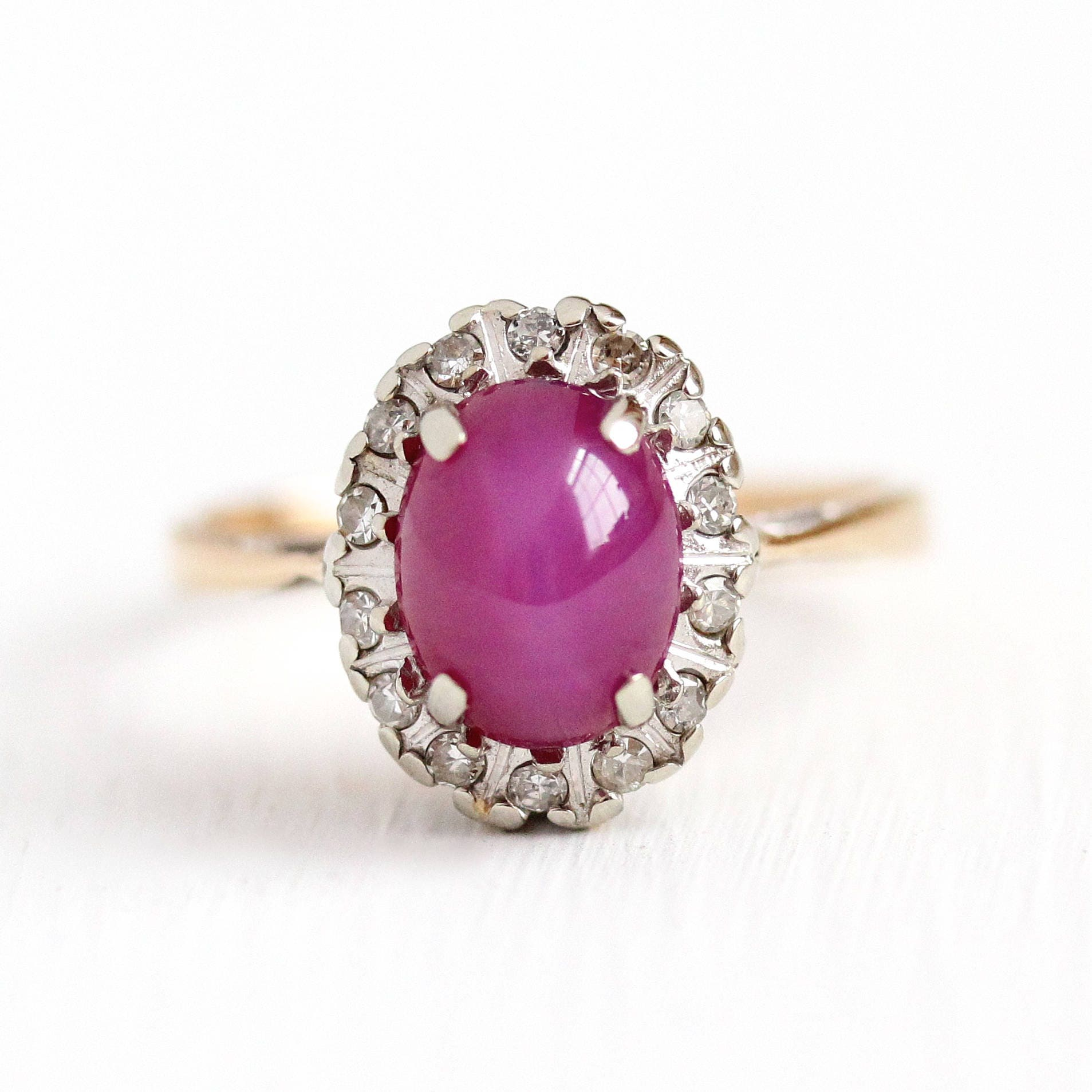 Sale Created Star Ruby Ring Vintage 14k Yellow Gold Pink