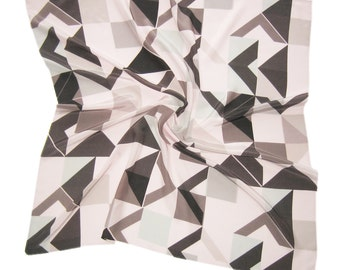 Oyster Pink and Grey Silk Square Scarf Geometric Pattern