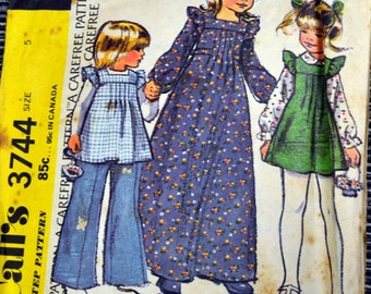 Vintage 1973 Yoked Dress and Pants Sewing Pattern McCall's 3744 Girls'  Size 5  Breast 24 inches  Complete