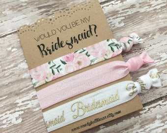 Will You Be My Bridesmaid, Pink Gold Hair Ties Favor, Bridesmaid Proposal, Bridal Party Hair Ties, Bridesmaid Hair Ties Help Me Tie The Knot