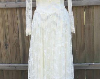 Vintage Wedding Gown, Vintage Wedding Dress, Vintage Jessica McClintock Wedding Dress, Vintage Ivory Lace Wedding Dress