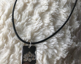 Simple Lotus Charm Leather Necklace