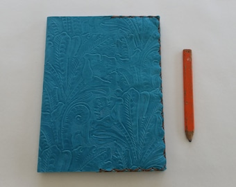 Leather Composition Book Cover, Refillable Leather Notebook, Turquoise Composition Notebook