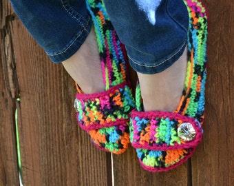 Neon crochet slippers, womens slippers, womens crochet slippers, booties, shoes, socks, colorful, variegated, tie dye slippers in blacklight