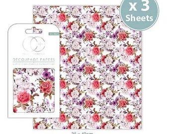 3 sheets of paper cutting decopatch 35 x 40 cm BOUQUET VINTAGE